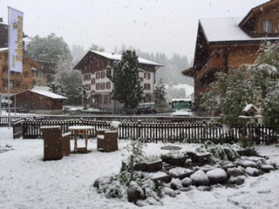 Hotel Edelweiss: view from front entrance of hotel (it was snowing)