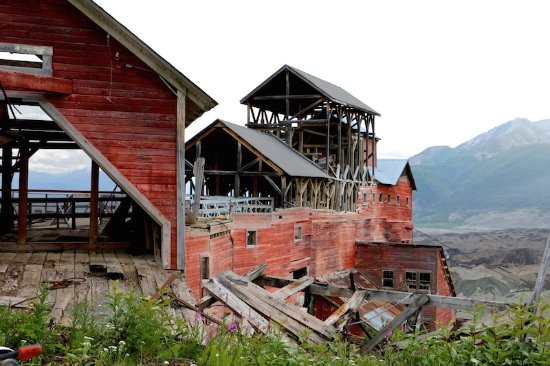 Wrangell-St Elias National Park and Preserve, AK: Mine buildings from above