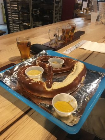 Brunswick, MD: Soft pretzel with mustards
