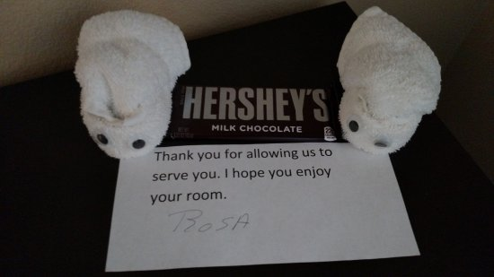 Englewood, CO: A welcome treat? It was unclear if the candy bar was complimentary or not.