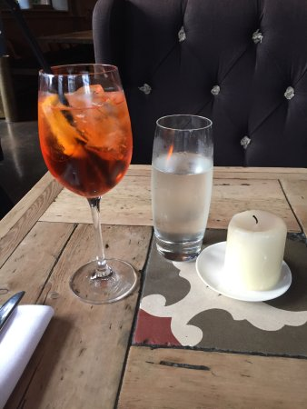 The Bird In Hand : Children's size Margherita pizza with extra toppings. Boquerones small plate. Aperol Spritz and