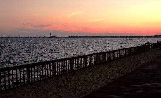 View of Provincetown from the first floor of the Crow's Nest Resort at sunset.