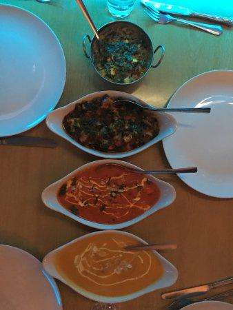 "Indian Express. West Kensington: Tikka masala (""very sweet""), spinach chicken (sag), almond coconut chicken (""also sweet"")."