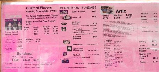 Lexington, MI: Bunny's Frozen Custard menu
