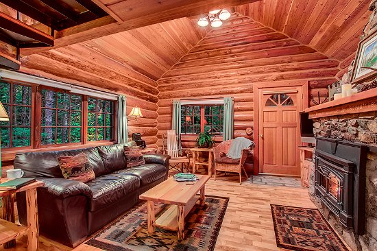 Deep Forest Cabins At Mt. Rainier: Mtn Home Log Cabin Living Room