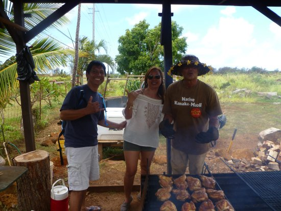 Anahola, HI: My wife and I posing with the cook.