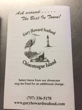 Gary Howard Seafood: Menu