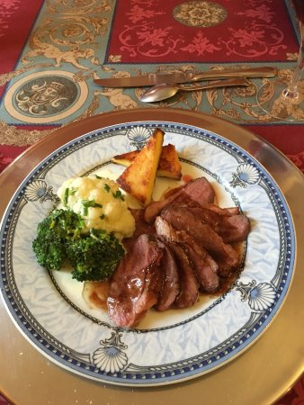 Ancemont, France : main course- duck breast cooked to perfection