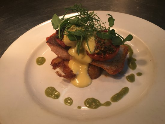 The Hayloft Restaurant: Local Sea Trout, Roast Tomatoes & Lemon Butter Sauce of our Weekly Changing Sunday Lunch Menu