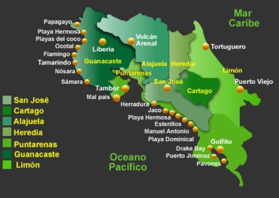 San Jose Metro, Costa Rica: Main destinations