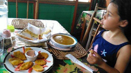 Water Front De Belle View: Pumpkin soup, garlic bread and fishcakes