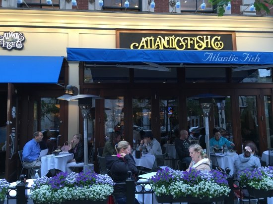 Atlantic Fish Company: Their entrance and patio on the nice Boylston Street.