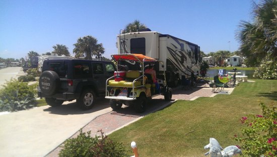 Gulf Waters Beach Front RV Resort: Site 758, closest to the beach and and end site, larger grass area.