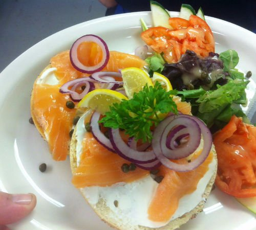 Chester, CT: Bagel with cream cheese, salmon, capers, red onion and a fresh salad.