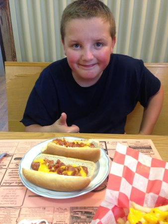 Benezett, PA: my son and his hot dogs