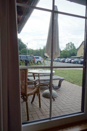 """Seehotel Burg im Spreewald: Blick auf die angebotene Terasse der """"Luxus""""-Suite Nr. 131"""