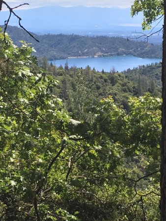 Whiskeytown, CA: A view of Wiskeytown Lake from high above on Papoose Pass Trail