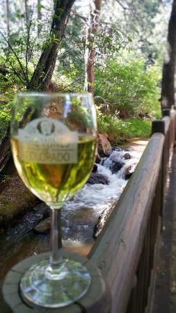 Cascade, CO: Sums it up right here, CO wine and a babbling brook