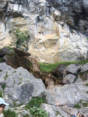 Uderns, Austria: View of the rocks around the waterfall.