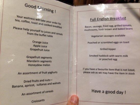 Γουέλινγκμπρα, UK: Brilliant free breakfast menu. I went vege full English, which was great,