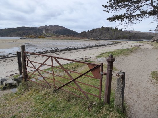 Lochaber, UK : Approach to Castle Tioram from parking lot