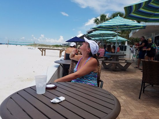 Sandbar Bill's: patio and beach