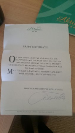 Hotel Aktinia: Note from hotel
