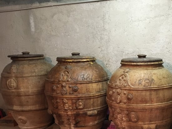 Tavernelle, Italia: Olive jars in the basement of muserale where Sabina and Monica live.m hey give an olive tour.