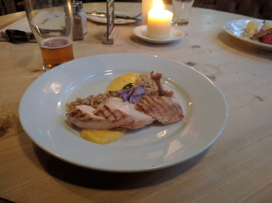 The Great Exhibition: Chicken Supreme with truffle barley and sweetcorn puree