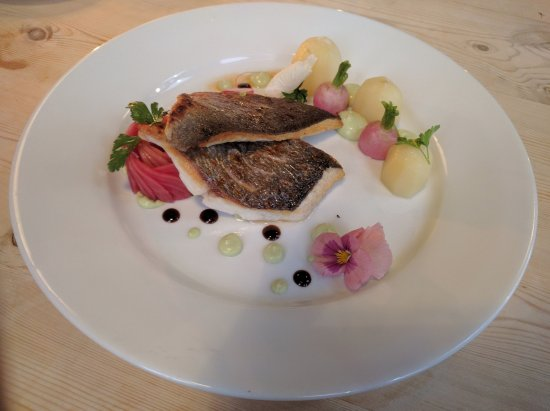 The Great Exhibition: Sea bream with Jersey Royal, glazed radish and avocado muosse