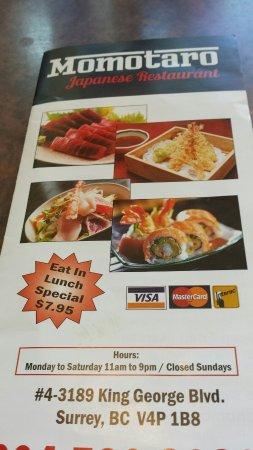Surrey, Canadá: Momo Taro Japanese Restaurant