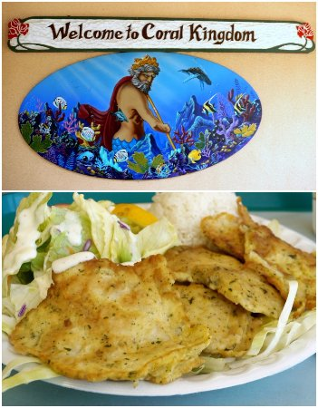 Coral Kingdom Restaurant: Mahi Mahi - battered in a lightly seasoned egg mixture and fried on the grill.