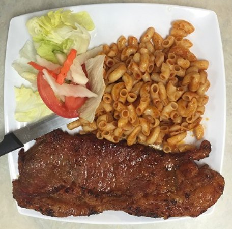 Milpitas, Californië: MARINATED NY STEAK WITH MACARONI