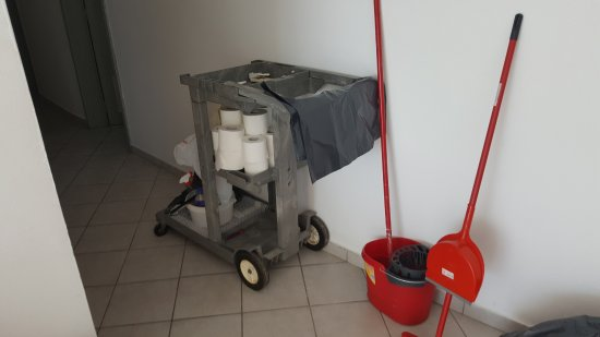 ALS Hotel : Housekeeping cart with limited domestic cleaners, mop, broom no vacuum cleaner