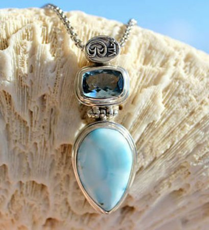 Vibe Collection Larimar Blue Topaz Pendent