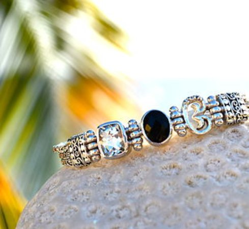 Vibe Collection Black Onyx And White Topaz Caribbean Link Bracelet