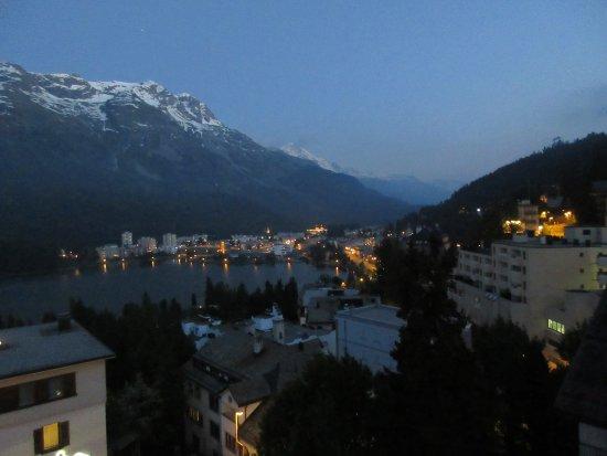 Hotel Schweizerhof: View from balcony at night.