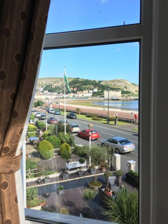 Can-y-Bae: View out bay window of room facing the sea