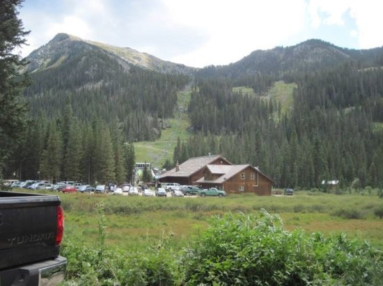 Taos Ski Valley, NM: View of lift 4 and the Bavarian during Summer.