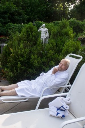Clarksville, MO: PastorPrime's favorite husband at the pool-Robes are in rooms.