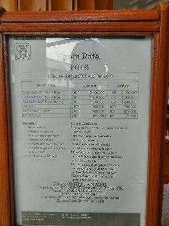 Grand Hotel Lembang : Room rates