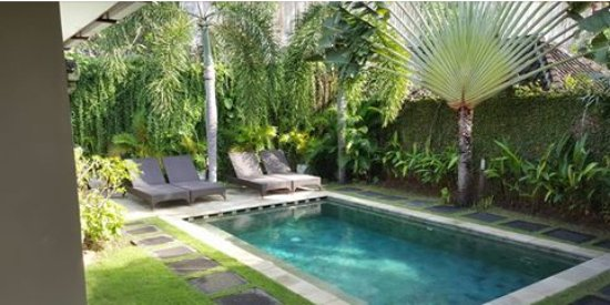Umah Watu Villas: the pool view from outdoor sitting area