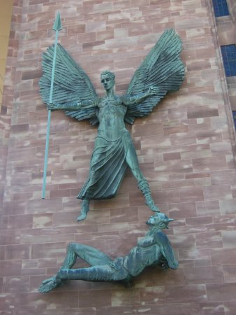 Coventry, UK: Jacob Epstein's sculpture of St. Michael subduing The Devil