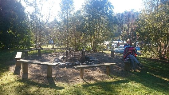 Woodford, Austrália: Communal fire pit near the shady shed