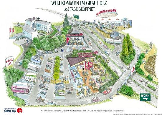 Ittigen, Schweiz: Lageplan Grauholz Raststätte