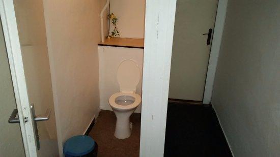 Frenstat pod Radhostem, República Checa: Záchod v chodbičce před pokojem. V chodbičce samotné žádné světlo není. Záchod už ledacos pamatu