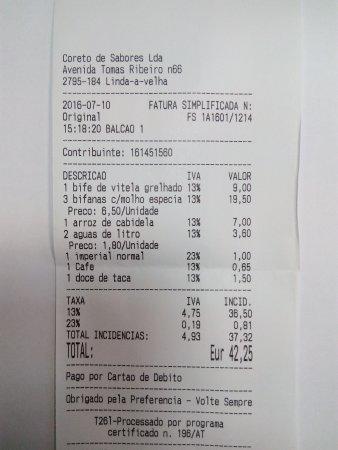 Linda-a-Velha, โปรตุเกส: A conta