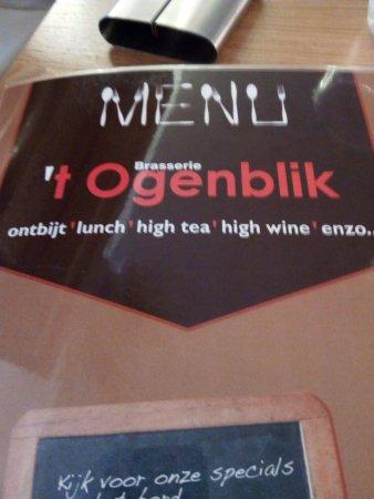 Brasserie 't Ogenblik: carta