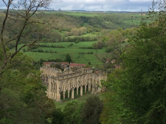 Helmsley, UK: View of Rievaulx Abbey from Terrace.