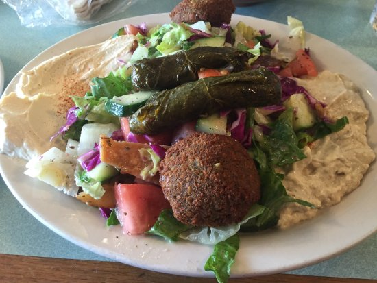 Beirut Restaurant: Appetizer platter. Hummus, baba ganoosh fatoosh, falafel, grape leaves and bread